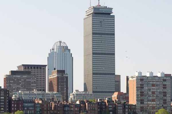 skyline of Boston back bay area with Prudential building