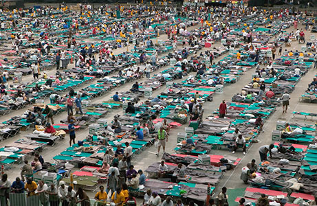 Image of shelter for people used during a disaster with cots in a multiple rows in large stadium type building